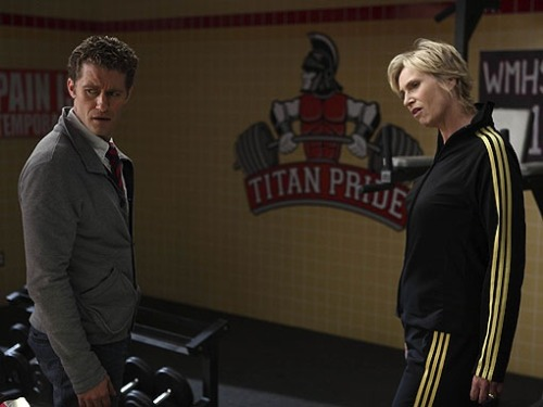 "New still Glee ""2x11 - The Sue Sylvester Bowl Shuffle"" - Mr Shue and Sue"