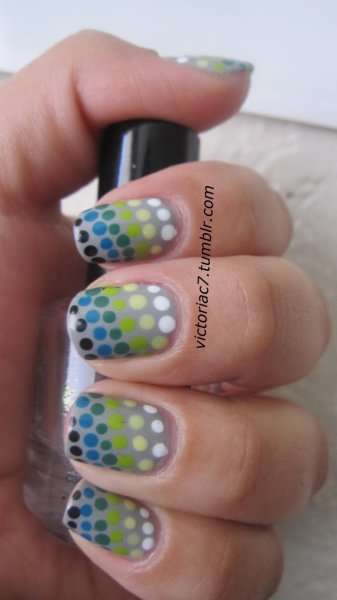 Light to dark polka dots Colors used:  Essie - Chinchilly Sally Hansen Insta-Dri - Whirlwind White Sally Hansen Insta-Dri - Lickety Split Lime China Glaze - Lemon Fizz OPI - Jade Is The New Black Essie - Mesmerize Jordana - Black