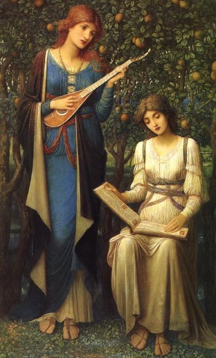 "John Melhuish Strudwick ""When Apples were Gold and Songs were Sweet, But Summer had Passed Away"""
