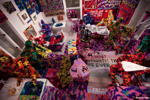 On now, through May 2011 at the Christopher Henry Gallery: Knitting is for Pus****, by Olek (you know, the lady who crocheted a cozy for the Charging Bull on Wall St.) Her artist statement is on her website.