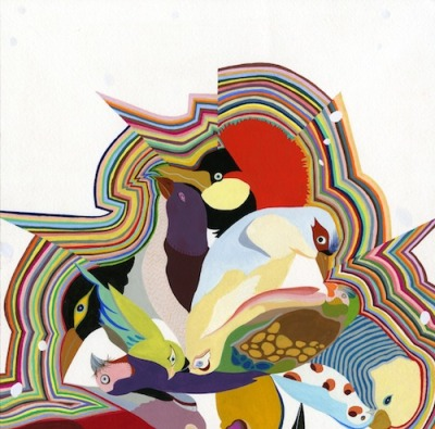 "Bird Power 2010, gouache on paper, 8""x8"" by Carrie Marill"