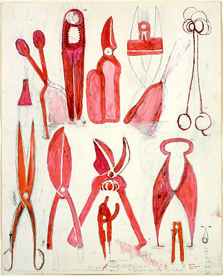 Louise BourgeoisUntitled 1986 Watercolor, ink, oil, charcoal and pencil on paper