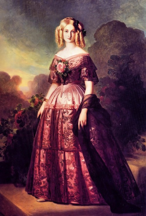 the-vintage-dress: 1846 Franz Xaver Winterhalter (German 1805-74) ~ Portrait of Duchesse d'Aumale; one of Winterhalter's most well-known portraits and a model of pre-crinoline evening dress and glamour.