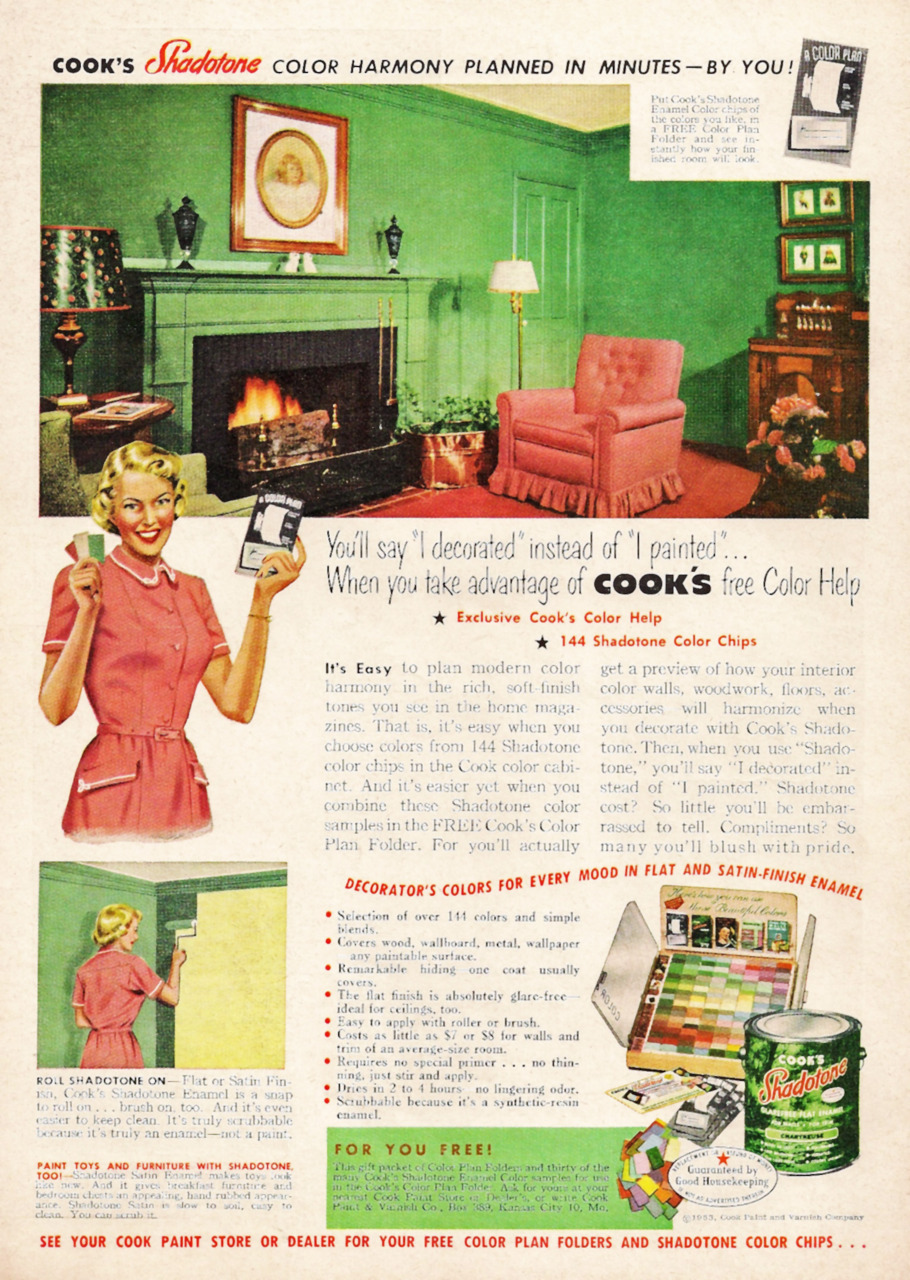 Cooks Paint ad, 1953 Wow! That's really GREEN.