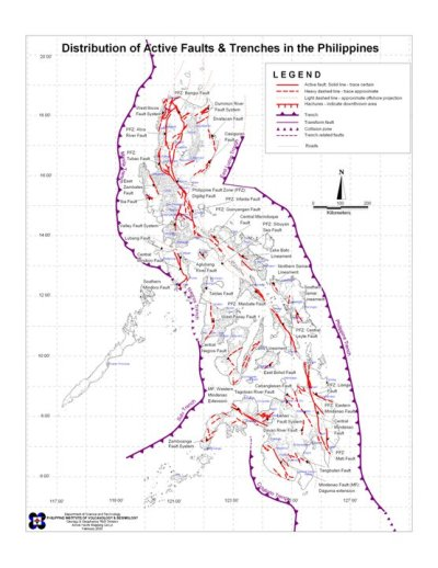 "List Of Active Fault Lines In The Philippines Marikina Valley Fault (Montalban, San Mateo, Marikina, Pasig, Taguig, Muntinlupa, San Pedro, Binan, Carmona, Santa Rosa, Calamba, Tagaytay, Oriental Mindoro) Western Philippine Fault (Luzon Sea, Mindoro Strait, Panay Gulf, Sulu Sea) Eastern Philippine Fault (Philippine Sea) Southern of Mindanao Fault (Moro Gulf, Celebes Sea) Central Philippine Fault (Entire Ilocos Norte, Aurora, Quezon, Masbate, Eastern Leyte, Southern Leyte, Agusan Del Norte, Agusan Del Sur, Davao del Norte) Of these, the MARIKINA VALLEY FAULT poses the greatest danger because it cuts through all the modern and progressive portions of Manila such as Eastwood, Rockwell, Ortigas Center, Bonifacio Global City, Ayala Center, and Alabang. Also, the PhiVolcs people have warned that this fault line can move anytime because it is already ""11 years late"" for its movement. *The earthquake that destroyed Guinsaugon is the Central Philippine Fault*The 1990 earthquake that destroyed Central Luzon and Baguio is also the Central Philippine Fault. Read More→"