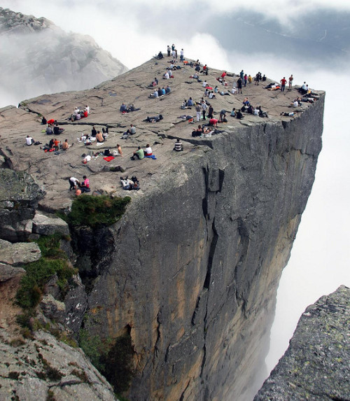Are you afraid of heights? (by niels.breve) Preikestolen, Norway