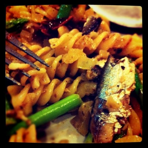 My half eaten sardine fusilli (Taken with instagram)