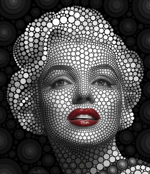 "inothernews:  RIGHT 'ROUND   Artist Ben Heine creates portraits of celebrities such as Marilyn Monroe by  painstakingly building faces by placing circles one by one. Using a  process he has dubbed Digital Circlism, the Brussels-based artist can  take between 100 and 180 hours for a single portrait. He says: ""Each  circle has a different colour, a different size and a different tone. In  my opinion, it is a modern artistic expression, a mix between Pop Art  and Pointillism.""  (Photo: Rex Features via the Telegraph) Excellent."