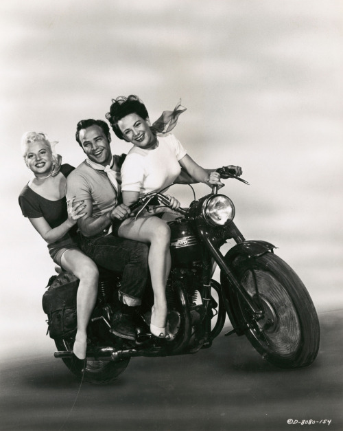 "Marlon Brando with Peggy Maley and Yvonne Doughty in ""The Wild One"" 1953"