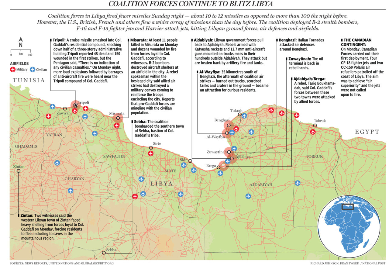 Map: Coalition forces continue to blitz Libya Gaddafi attacks rebel towns, U.S. plane down In the first apparent air force casualty of the campaign, a U.S. F-15E crashed in Libya overnight and its two crew members were rescued, the U.S. military said. The crash was likely caused by mechanical failure and not hostile fire, it said. (Suhaib Salem/Reuters)Coalition forces: Why Libya? International forces launched military action in Libya, but in Bahrain and Yemen — where 50 protesters were shot dead by pro-government snipers — the allies have offered nothing more than the verbal equivalent of a slap on the wrist.