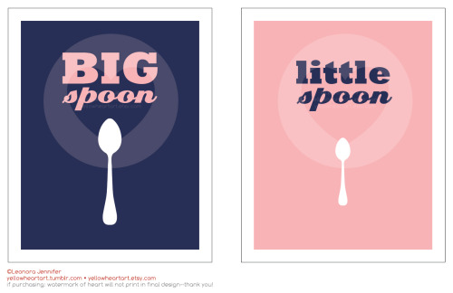 """Big Spoon Little Spoon"" - His and Her Side graphic prints by Leonora Jennifer for Yellow Heart Art For all you love birds out there who want to designate whose who on each side of the bed! (I'm totally the little spoon, I tried being the big spoon once—I didn't like it. Not one bit) Spooning much?"