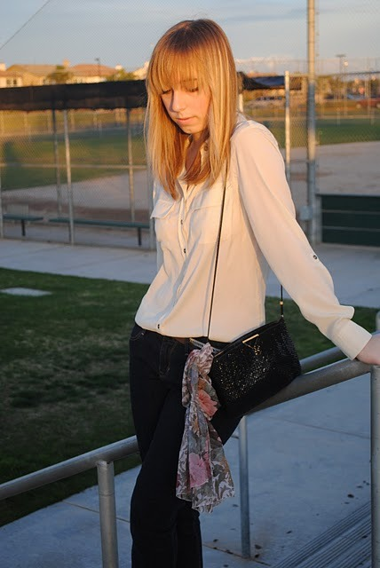 Blogger Tiffany Thompson of Little Blonde Muse, 16, wearing a cream button-up blouse, Gap jeans, a vintage handbag and scarf, and a skinny Abercrombie belt. Read more about today's Best-Dressed Reader on our Snapshot Blog»