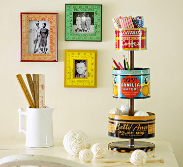 ilovemyapartment:    Vintage-Tin Crafts Supplies Organizer Tutorial here!  So cute, love this!