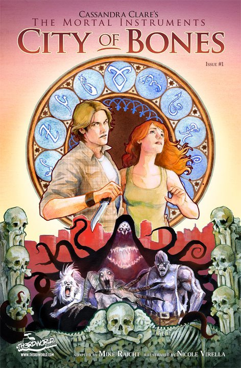 "Shiny!:D  Cover of TMI comic #1 and update on comics/graphic novels: ""Issue 1 is lettered (waiting on tweaks from letterer now and then you'll see it) issue 1 is almost done being colored and issue 2 is underway. Issue 4 is being adapted and by next week the artist will be halfway through the art on issue 3."" Still aiming for winter publication. (via Cassandra Clare's Photos - Wall Photos)"