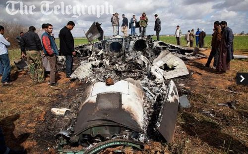neighborhoodr-tripoli:  Libyan residents discover wreckage of downed US plane.  More photos where that came from.