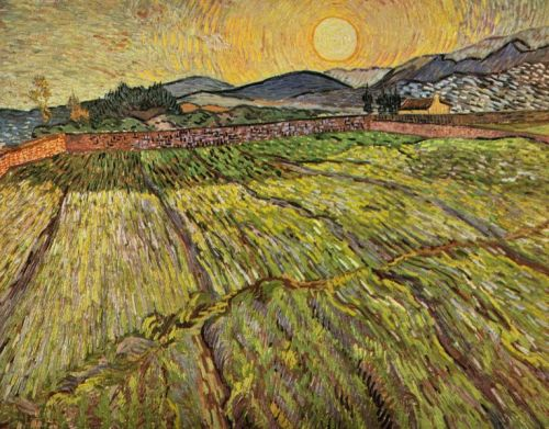 Enclosed Field with Rising Sun (1889) - Vincent van Gogh.  vincentvangogh-: