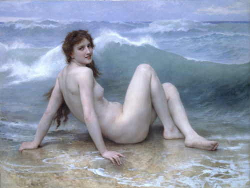 The Wave, 1896 William Adolphe Bouguereau Oil on Canvas I've never had the opportunity to study Bougereau, probably because the academic tradition was under attack by the impressionists by this time and art history teachers think that change and revolution in the art world is more important- well, yeah, maybe. Whatever! She looks cold and fleshy and as though she floats above her surroundings. The contrast between the calm and happy (if chilled) model and the threat of the wave that's about to crash down on her creates a tension that makes the painting vibrate and come alive. As though you need to keep watching to see what happens next. It's dynamic, dramatic and vibrant. The pinky-beige flesh tones and the bronze-y colour of the rock are complementary colours with the blues which adds to the vibrancy of the work. (perhaps he took the use of the theory of complementary colours from the impressionists in order to 'get with it' even as they were forcing him out of favour- oh how tragic)  Things I love about this painting: the wrinkles in the sole of her foot her tiny little mouth that it looks like the artist had never seen anyone bathe in the sea. Not one part of her interacts with the water or is even a little wet. It's like she's sitting on a block of ice. I love you W.A.B. You'll never be unfashionable to me xx