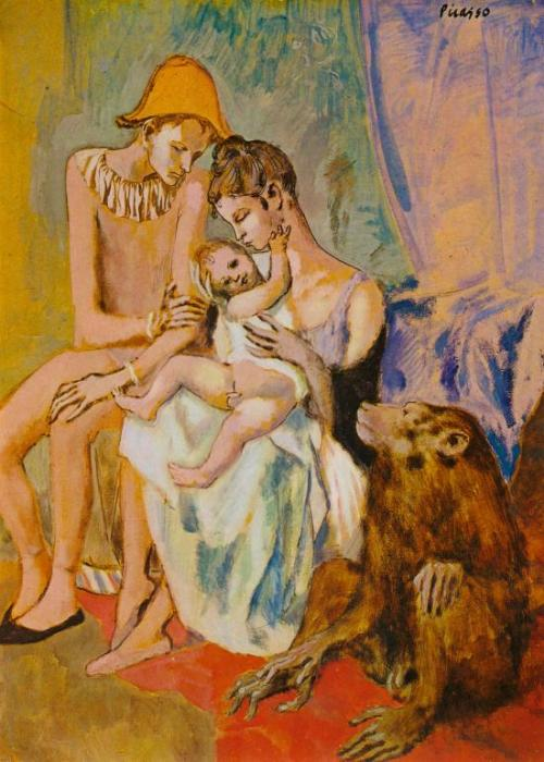 Pablo Picasso Harlequin's Family With an Ape (1905) I want a cinematographer somewhere to base a movie's lighting and color scheme on this painting.