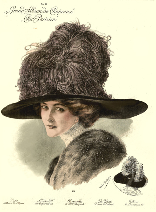 1911 Paris millinery catalog chromolithograph, #406 ~ Off to a new home! ♥