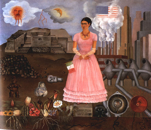 "I love this painting from Frida Kahlo. I got to know a lil bit more about her life and her work.She's a god damn strong and determined woman. Here is "" Raices "" , Roots in Spanish where she feels split between the USA where she moved with her husband, and her country Mexico. Feelings against roots. Mass consumption against traditions. you know what ,I'm way I'm too tired to write a proper comment about this piece."