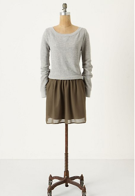 the incorporated dress combines a heathery sweatshirt top with a woven skirt, making it the perfect mix of casual and dressy. i can imagine about a million places to wear this dress: a saturday morning coffee date, a trip to the public library, or a movie night in with friends. wait… who am i kidding? it's nearly exam time and i'm living in sweats and t-shirts! soon enough, the semester will be over which means nice weather and the time to put together acceptable outfits! dress by deletta for anthropologie.