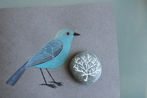 via gennine's art blog  aqua bird on gray - so sweet!
