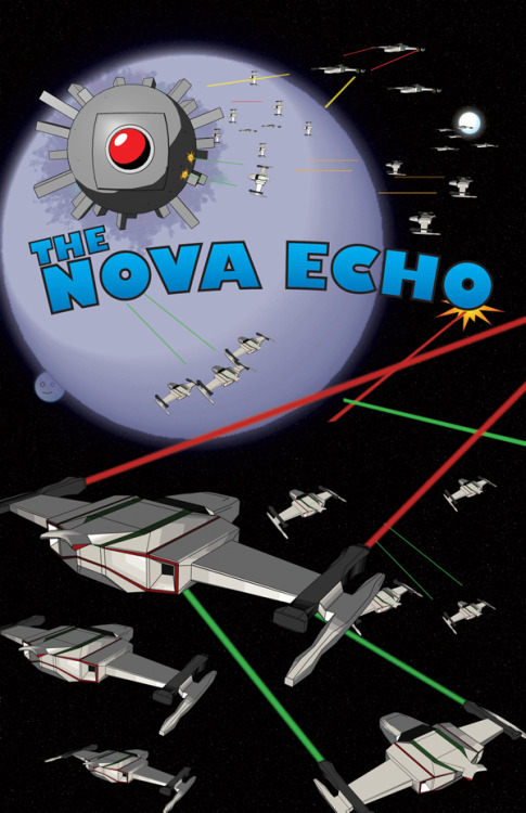 As mentioned in earlier posts is the finished product of The Echo Nova poster competition via Creative Allies. As the brief wanted inspiration form sci-fi films I have done just that. The most obvious is Star Wars with a Death Star like base and spaceships attacking it. But it also has a reference to 2001: A Space Odyssey with the base having an eye similar to that of HAL 9000. When creating the base I also noticed that it sort of resembled that of a Medusa Head which are a common enemy in the video game series Castlevania, which happened to be a happy accident. I also slipped in a moon with a face hiding behind the giant purple planet which is a reference to Le Voyage dans la lune (A Trip to the Moon) which was the very first sci-fi film ever made. As for the ship I took reference from many sci-fi films as well as popular shoot-em-ups games from the 80s. If you like it feel free to vote for it here. For some reason the colours always come out a bit strange when I upload to Creative Allies.