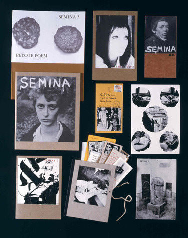 christopherschreck:  SEMINA SEMINA was a nine-volume mail-art publication founded by Wallace Berman. Running from 1958-1964, its format was a  letterpress text printed on an assemblage of colored paper, photos, and found material. Contributors included Charles Bukowski, William S. Burroughs, Jean Cocteau, Allen Ginsberg, Michael McClure, and Philip Lamantia. Click the image to scroll through issues of Semina.