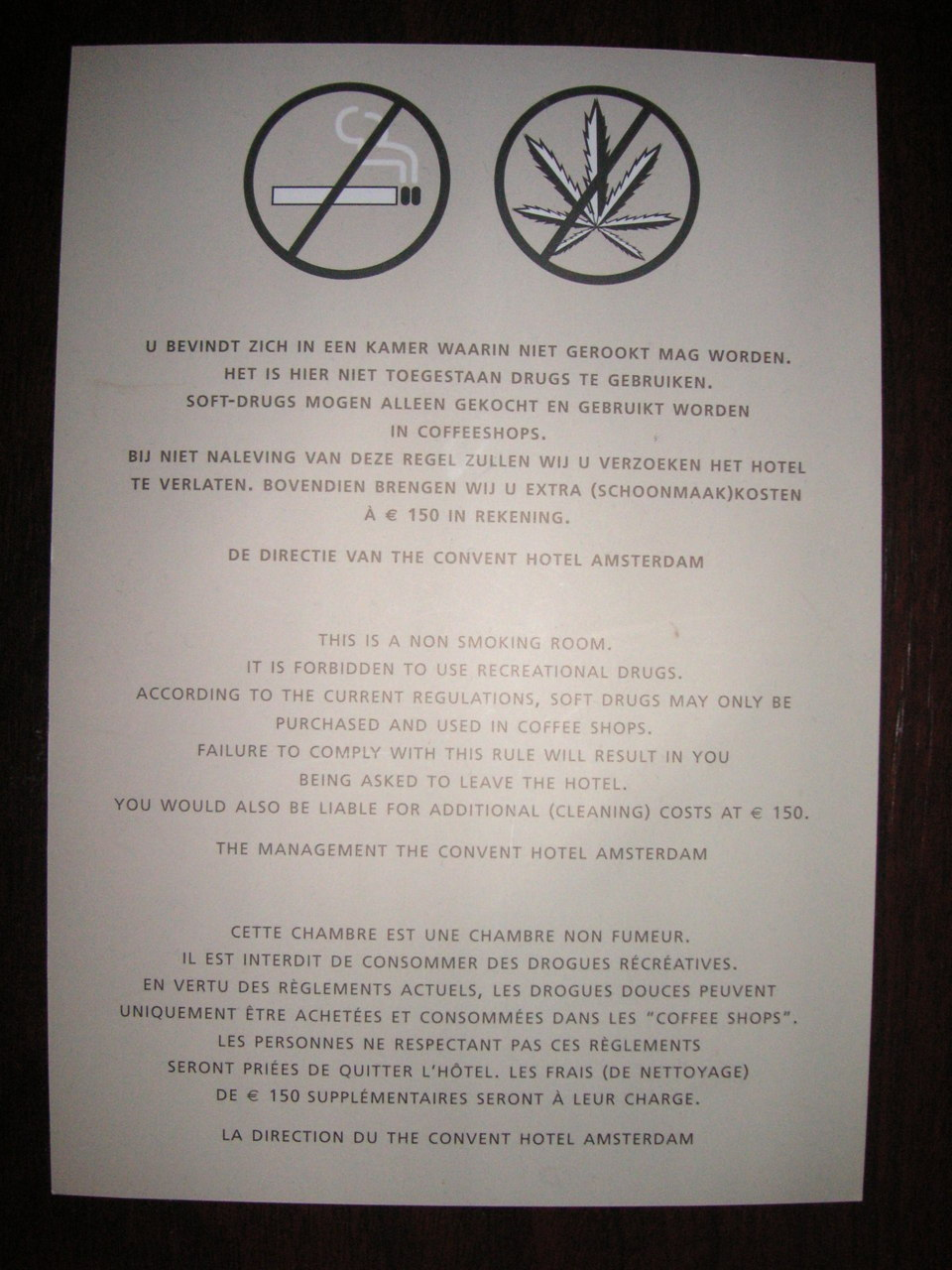 A sign inside a hotel room in Amsterdam, Amsterdam, Netherlands.  Taken in May 2010.