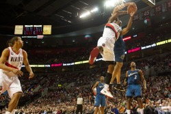 (photo by Bruce Ely from The Oregonian) WAS 76, POR 111 JaVale McGee goes H.A.M. on Wes-$. Lord. Pwnage.