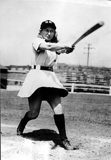 "Gertrude ""Tiby"" Eisen All-American Girls Professional Baseball League Likely in her Grand Rapid Chicks uniform (Tiby played for several teams) 1945"
