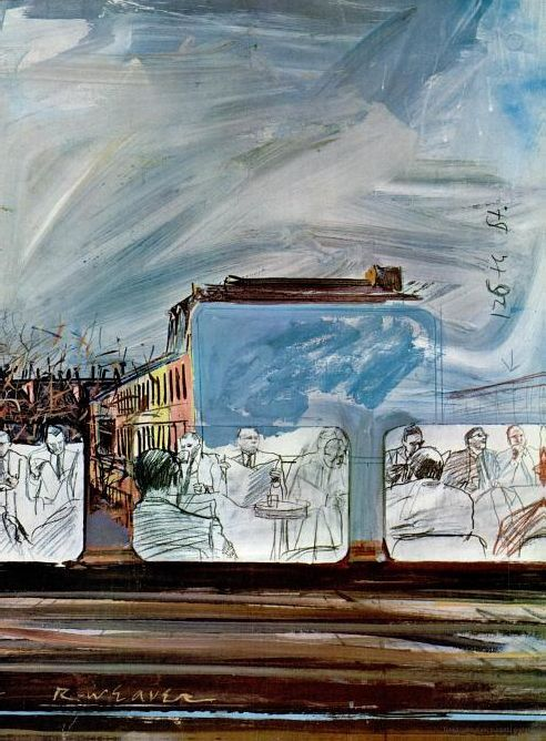 Illustration of a restaurant car in a train with reflections of New York, by Robert Weaver, first issue of New York Magazine, April 1968.
