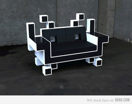 rickylinn:  9gag:  Space Invader Couch  Would not mind having one.