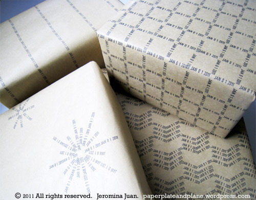 Date stamp gift wrap!  There's lots of different ways to do this, from easy to quite fussy, click photo for instructions!
