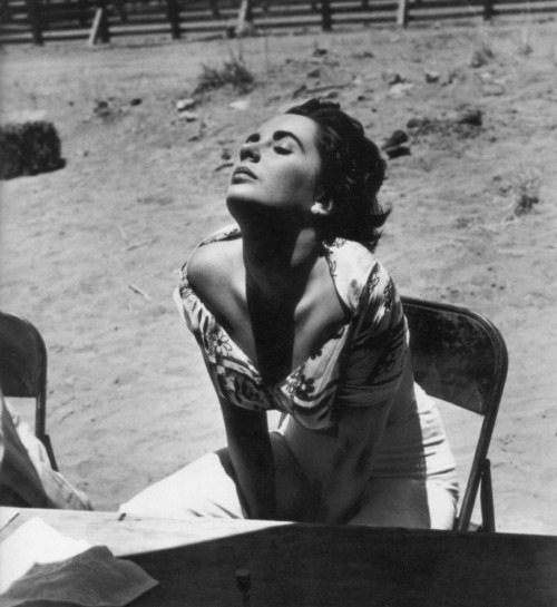 Liz Taylor on the set of Giant, 1955.