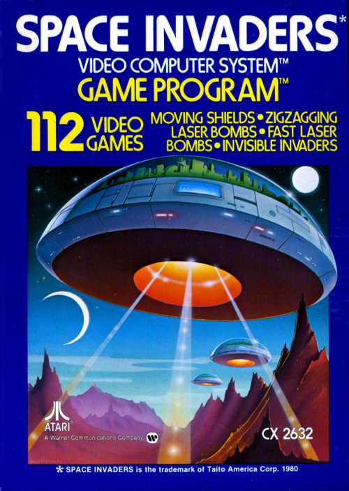 gameandgraphics:  Space Invaders box art for the  Atari 2600 home video game system - Atari, 1980