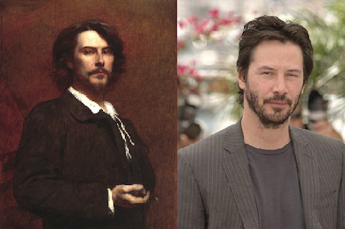 "A: No Also, Keanu has looked the same forever.  He has some azn in him, doesn't he? Add ""River's Edge"" to your queue.  Much better than ""Stand By Me."" krap-y:  Can one reblog TOO much? I guess we'll find out. urlesque:  Keanu Reeves has been the target of several Internet memes in his day,  including ""Sad Keanu,"" which stemmed from a photo of him eating a  cupcake slouched over all sad-like. But Keanu isn't new to the meme  world. Another Keanu meme involves his never-changing, immortal face. We think he's been around since at least the 1800s, as this 1875 photo of actor Paul Monet demonstrates. 5 Celebrity Doppelgangers From Centuries-Old Portraits"