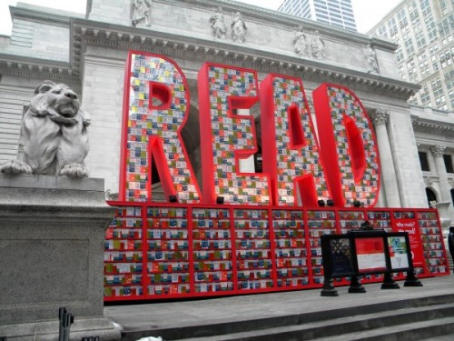 The New York Public Library is one of my favorite places in New York. When I lived there this summer, I went there every weekend. This sculpture is made out of Dr. Seuss books. Neat.