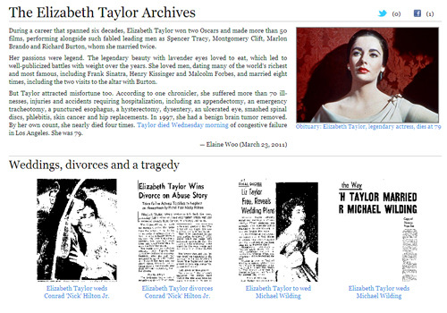 An archive of classic Los Angeles Times stories on Elizabeth Taylor.