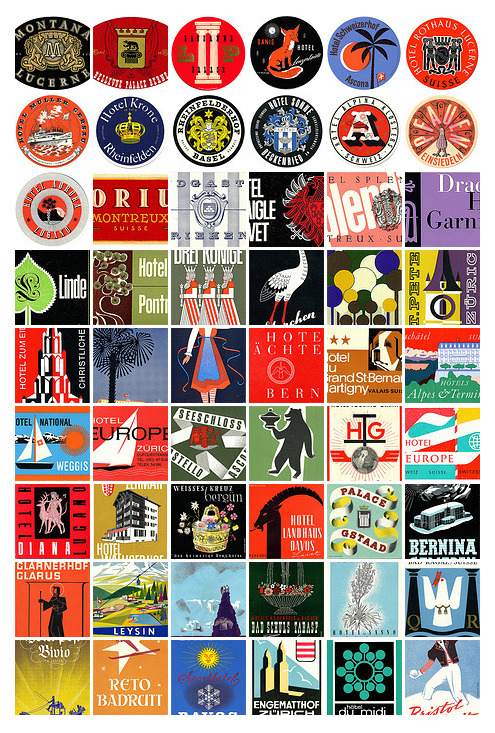 1950's Swiss Luggage labels /via Austin