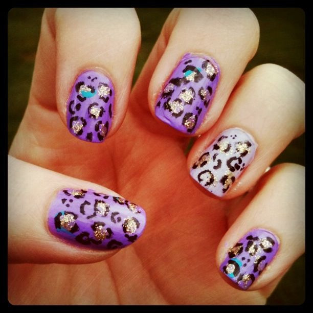 Nails for the week, purple and gold leopard print :)