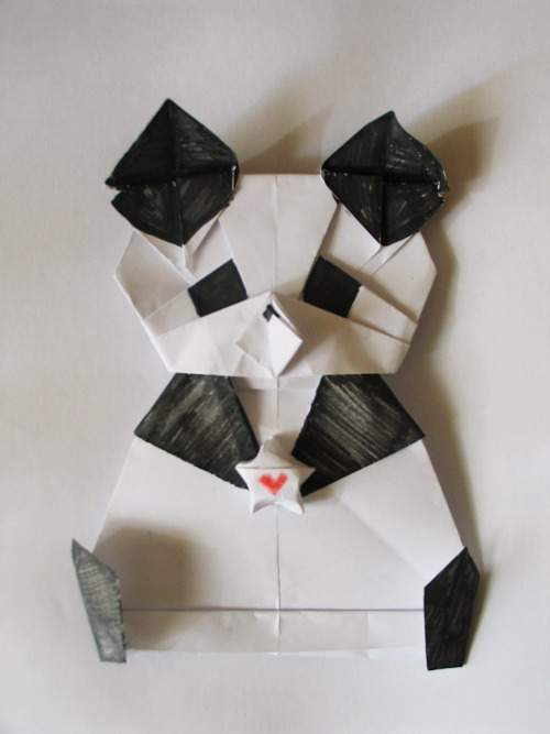 Origami panda I made for Lyanne's birthday card, without the words on it. It's a very happy panda. 3-19-2011