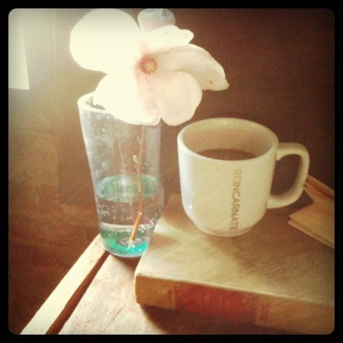 larkseye:  My desk for today #coffee #flower #book #brick #window (Taken with instagram)