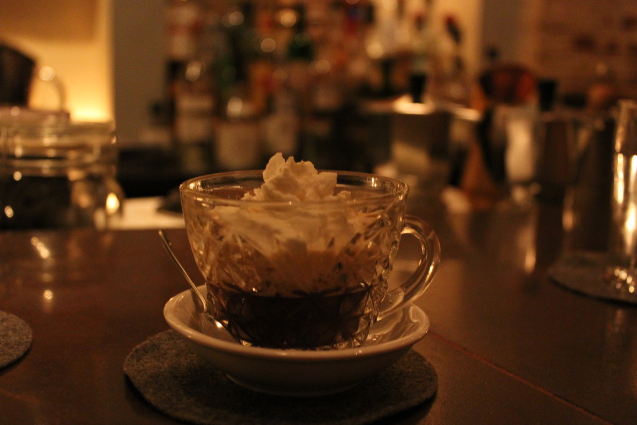 Espresso with homemade bourbon-infused whipped cream.Columbia Room. DC.
