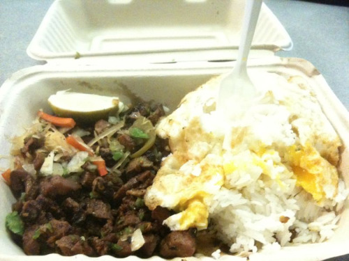 Dinner. Pork sisig with rice silog style.