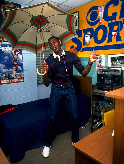 Michael Jordan in his college dorm room at University of North Carolina, 1983 …i guess he's not superstitious