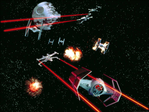 TIE Advanced X1 and other TIE Fighters engaging X-Wings near the Death Star II  from Rebellion Era Sourcebook  You can buy it HERE.
