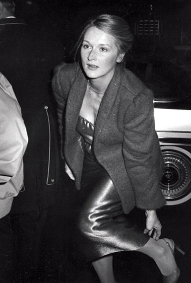 Meryl leaving Woody Allen's NYE party,1979.