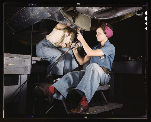 women at work on  a bomber, douglas aircraft company