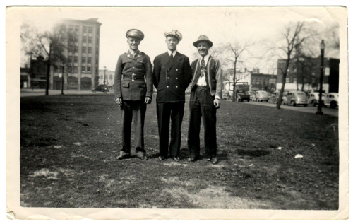 Here we have Walter, John, and Casimir Zabowski in June of 1943.  Walter appears to be in an Army uniform and I know that John worked with the Merchant Marines during the war.  My guess is that one of them were shipping out this day because this photo was taken in front of the Michigan Central train station (thanks to cousin Gail, John's daughter, for recognizing the location).  The 6 story building in the background is still there at the corner of Michigan Avenue and 14th St.  It is the CPA Building, and like the train station it too is now abandon.   By the way, CPA in this case does not stand for Certified Public Accountant but for Conductors Protective Association, which was an insurance organization for train workers.  Like many fraternal and trade workers cooperatives from long ago the CPA was created to assist workers and their families when one of them were injured, lost their job, or to help the family of a worker that was killed.